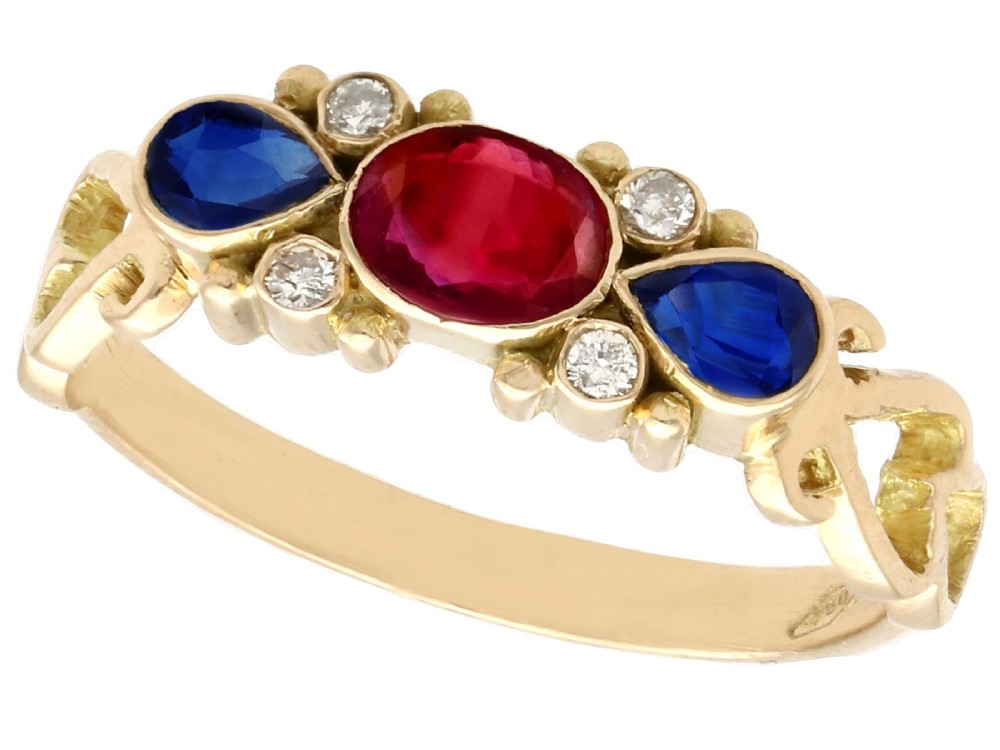 050ct ruby 032ct sapphire and diamond 18ct yellow gold dress ring vintage circa 1940