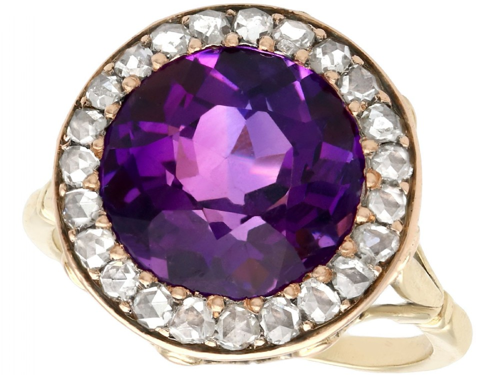 332ct amethyst and 080ct diamond 14ct and 9ct yellow gold dress ring antique circa 1930