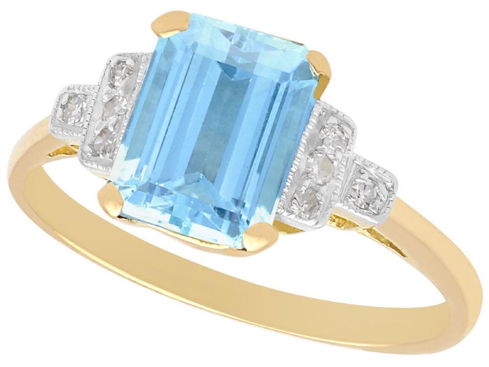 196ct aquamarine and diamond 18ct yellow gold dress ring antique circa 1920