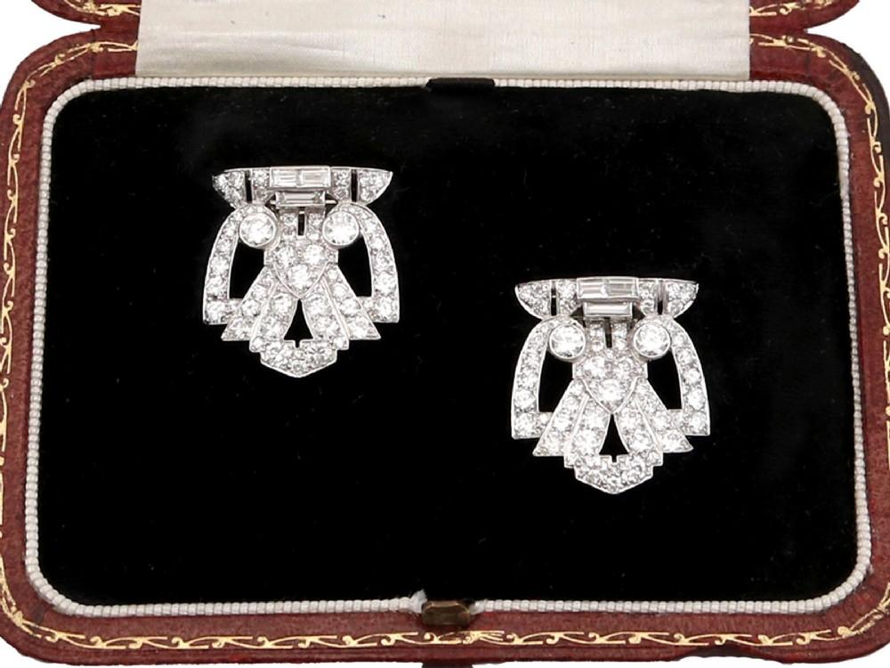 727ct diamond and platinum 18ct white gold double clip brooch art deco antique circa 1930