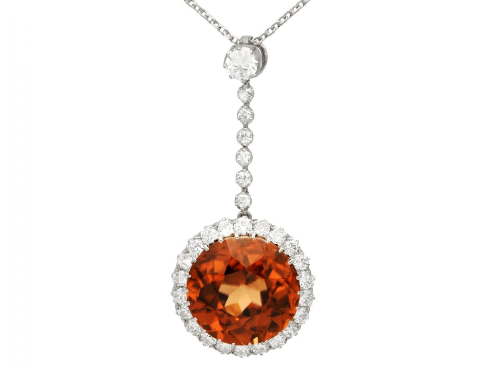 1269ct zircon and 104ct diamond palladium necklace antique circa 1910
