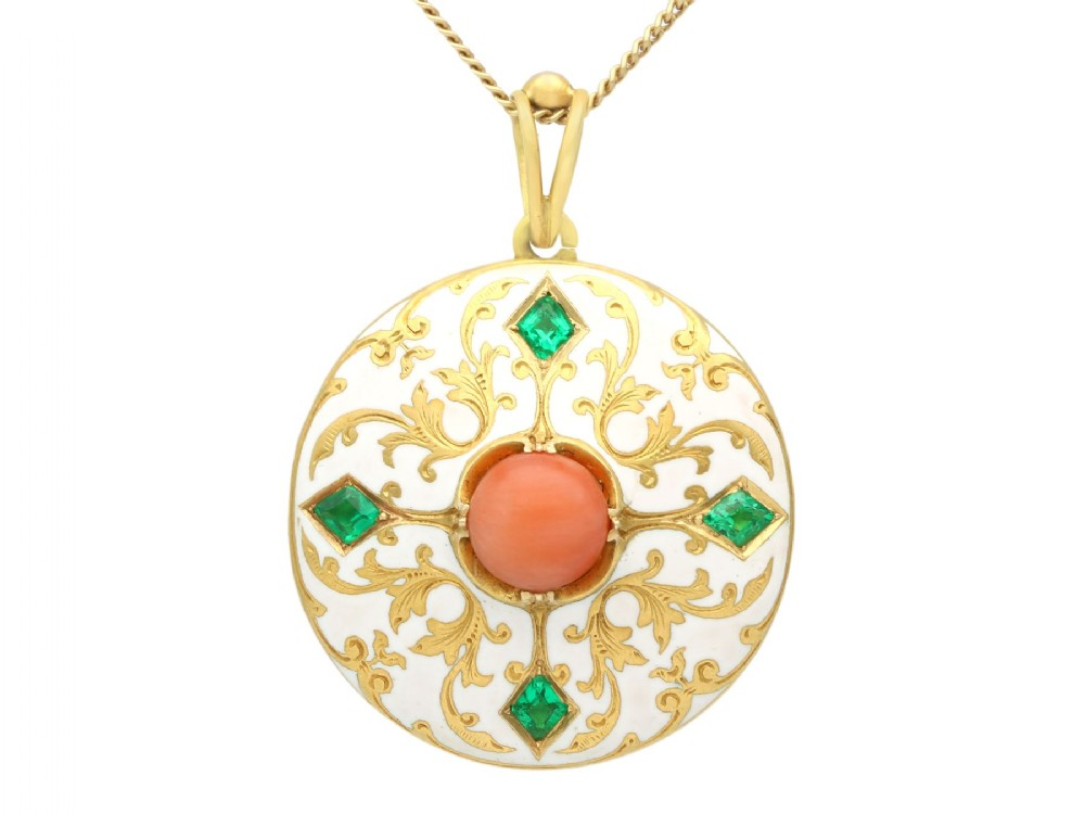 055ct emerald coral and enamel 18 ct yellow gold locket antique victorian circa 1880