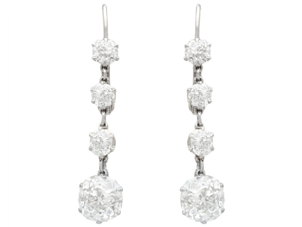 580ct diamond and platinum drop earrings antique circa 1920