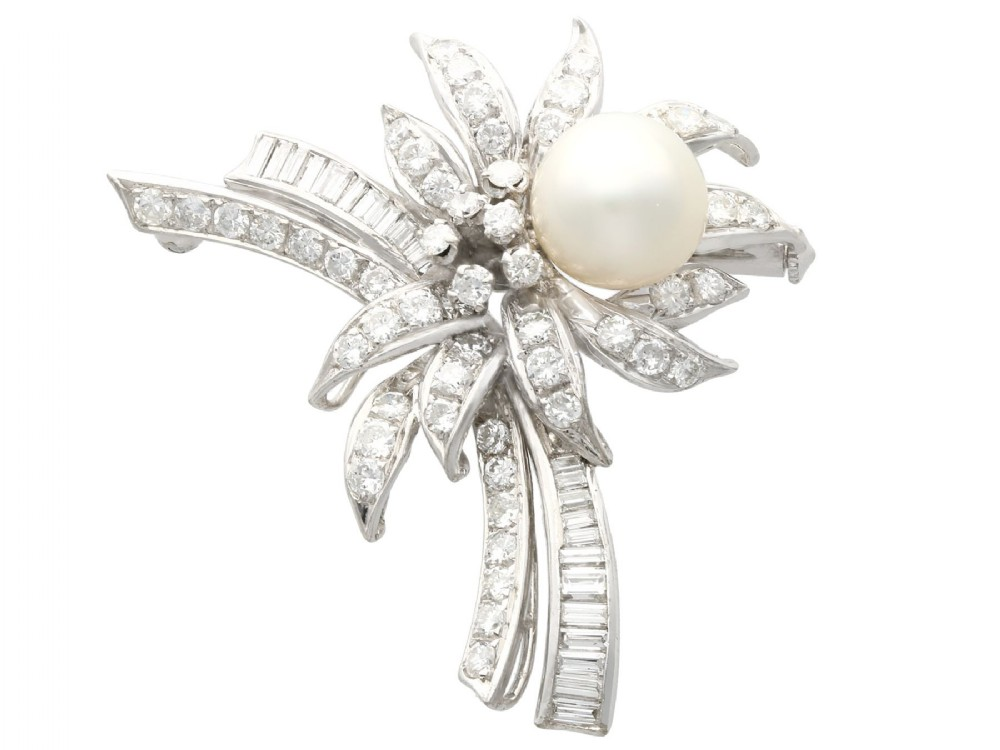 cultured pearl 392 ct diamond and 12 ct white gold brooch vintage circa 1940