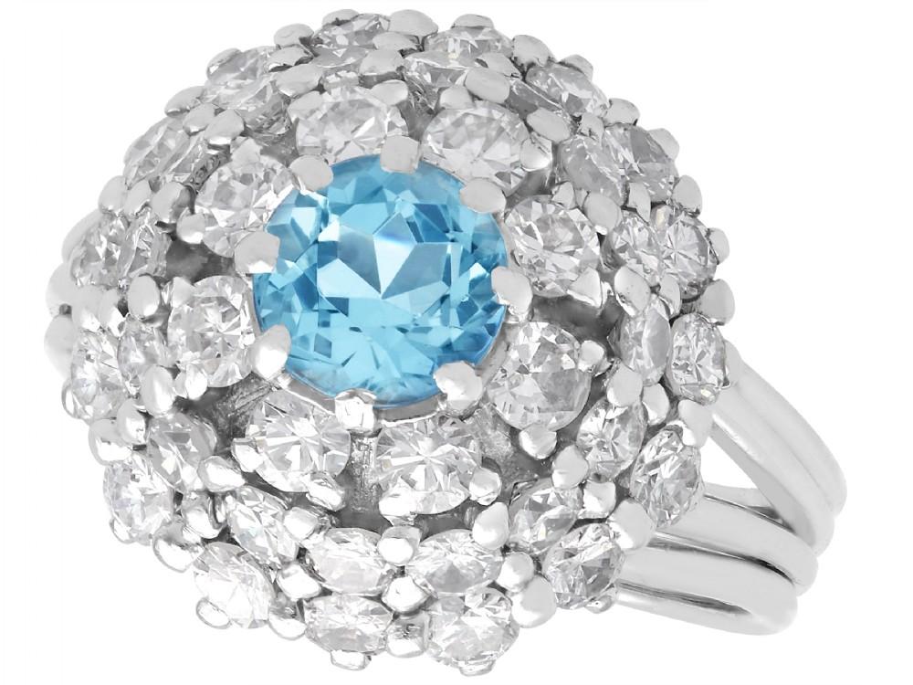 063ct aquamarine and 239ct diamond 18ct white gold dress ring vintage circa 1960