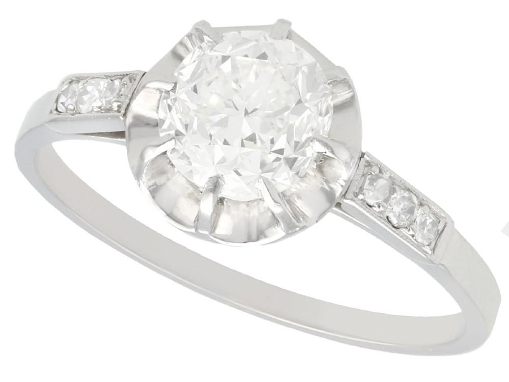 122 ct diamond and platinum solitaire ring antique french circa 1920