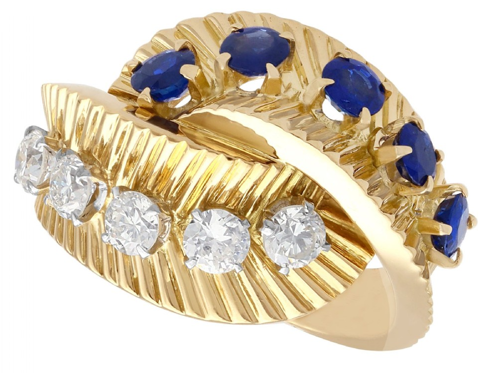 069ct sapphire and 055ct diamond 18ct yellow gold dress ring by van cleef and arpels vintage circa 1960