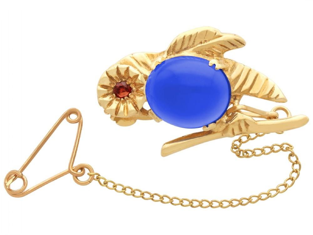 294 ct dyed quartz and hessonite garnet 9ct yellow gold bird brooch antique circa 1910