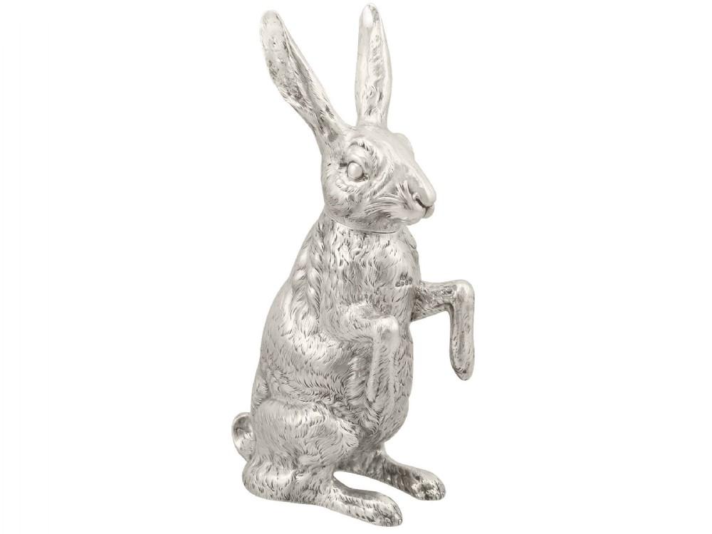 sterling silver hare sugar box antique victorian