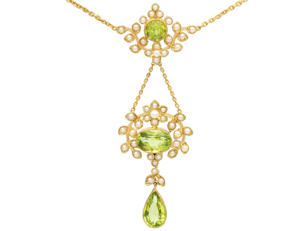 343 ct peridot and seed pearl 15 ct yellow gold necklace antique circa 1920