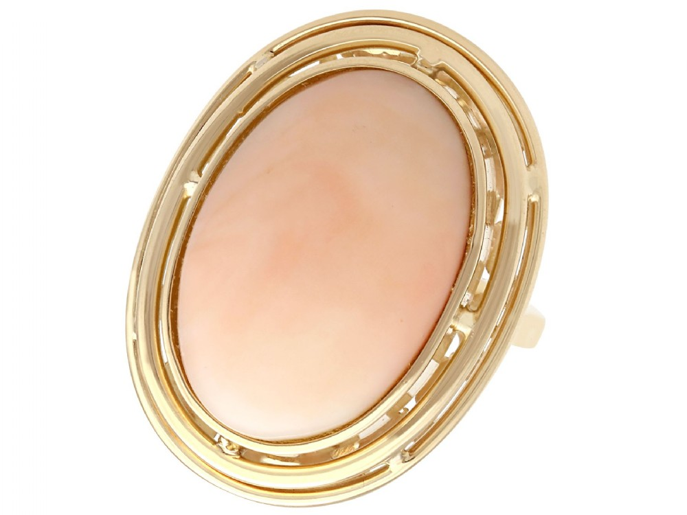 1398ct coral and 14 ct yellow gold dress ring vintage circa 1960
