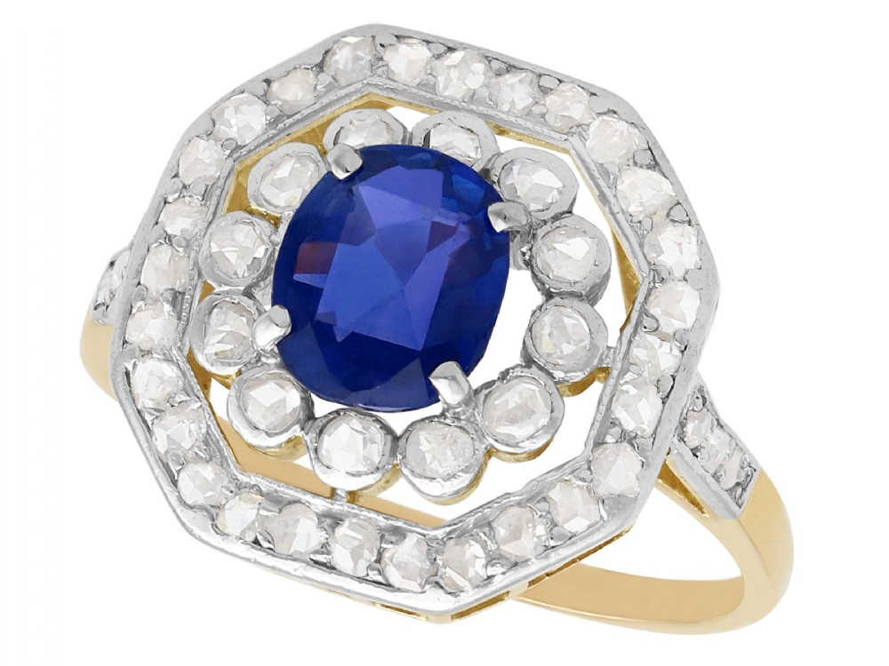 102 ct sapphire and 062 ct diamond 10 ct yellow gold cluster ring antique circa 1910