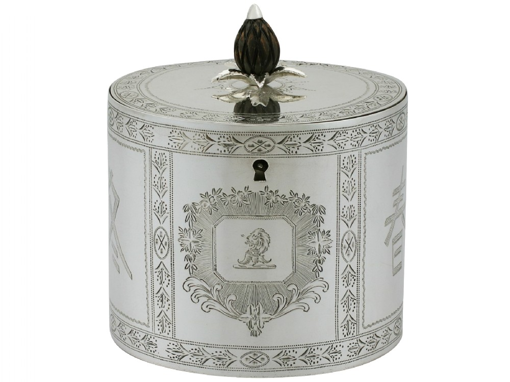 sterling silver locking tea caddy antique george iii 1780