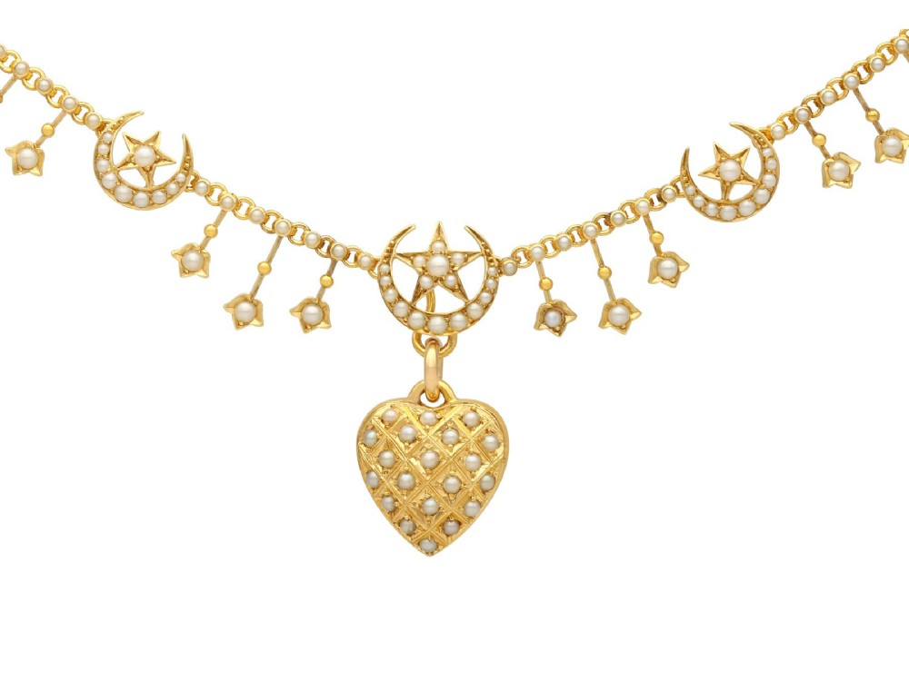 seed pearl and 15ct yellow gold heart necklace antique circa 1880