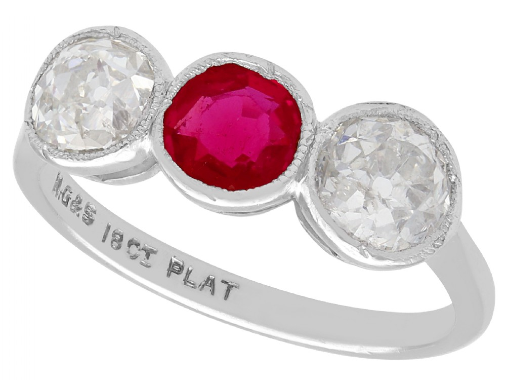 062ct ruby and 140ct diamond 18ct white gold trilogy ring antique