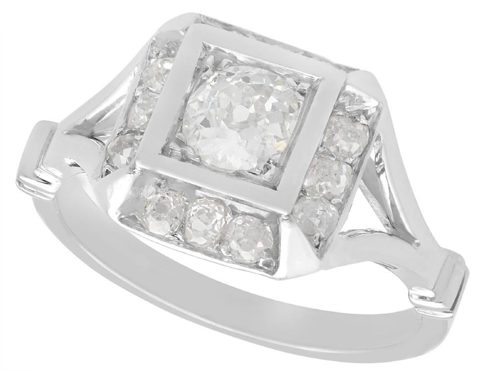 126 ct diamond and platinum cluster ring antique french circa 1930