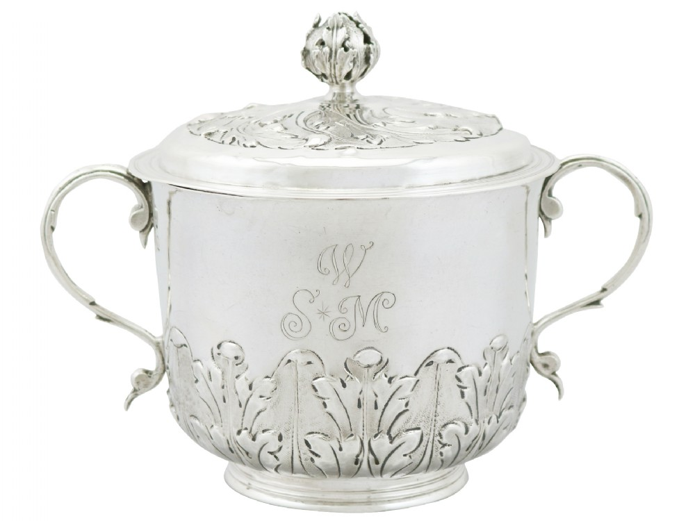 sterling silver porringer and cover antique william iii 1689