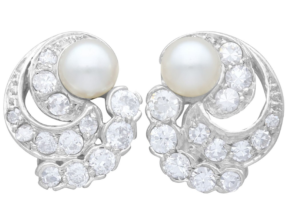 cultured pearl 092 ct diamond platinum and 18 ct white gold clip on earrings vintage circa 1950