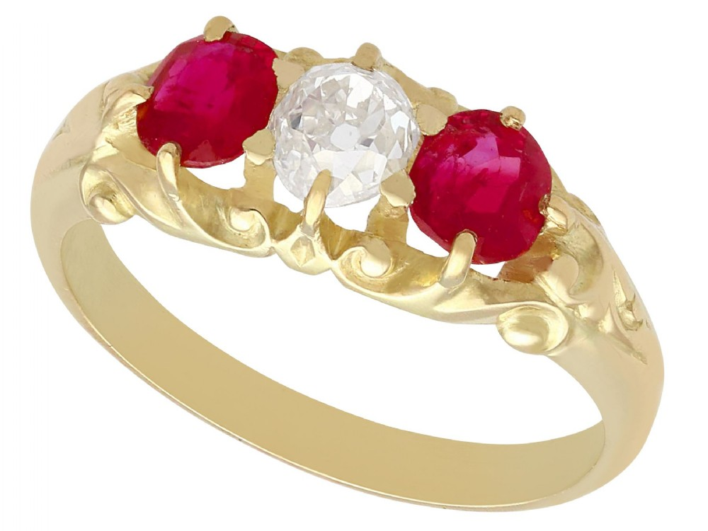055ct diamond and 080ct ruby 15ct yellow gold dress ring antique victorian circa 1900