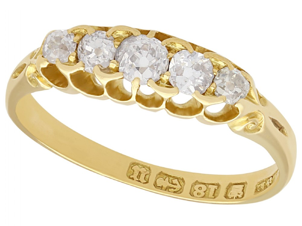 066 ct diamond and 18 ct yellow gold five stone ring antique victorian