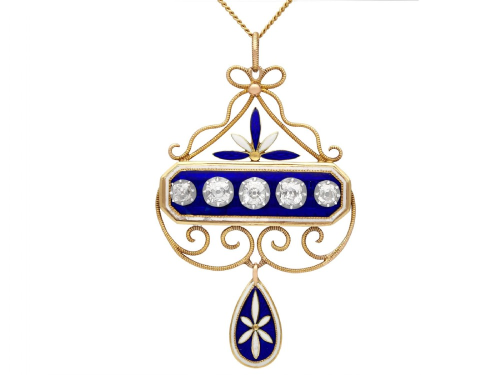 189ct diamond and enamel 15ct yellow gold and silver pendant antique victorian
