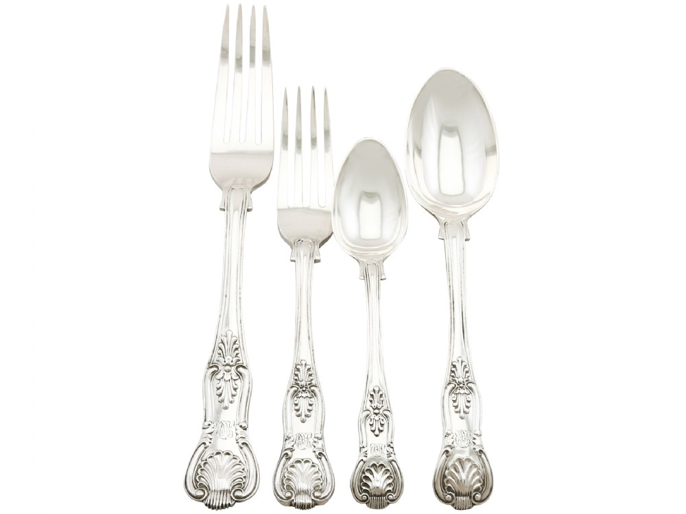 sterling silver canteen of cutlery for ten persons by charles boyton ii antique victorian 1868