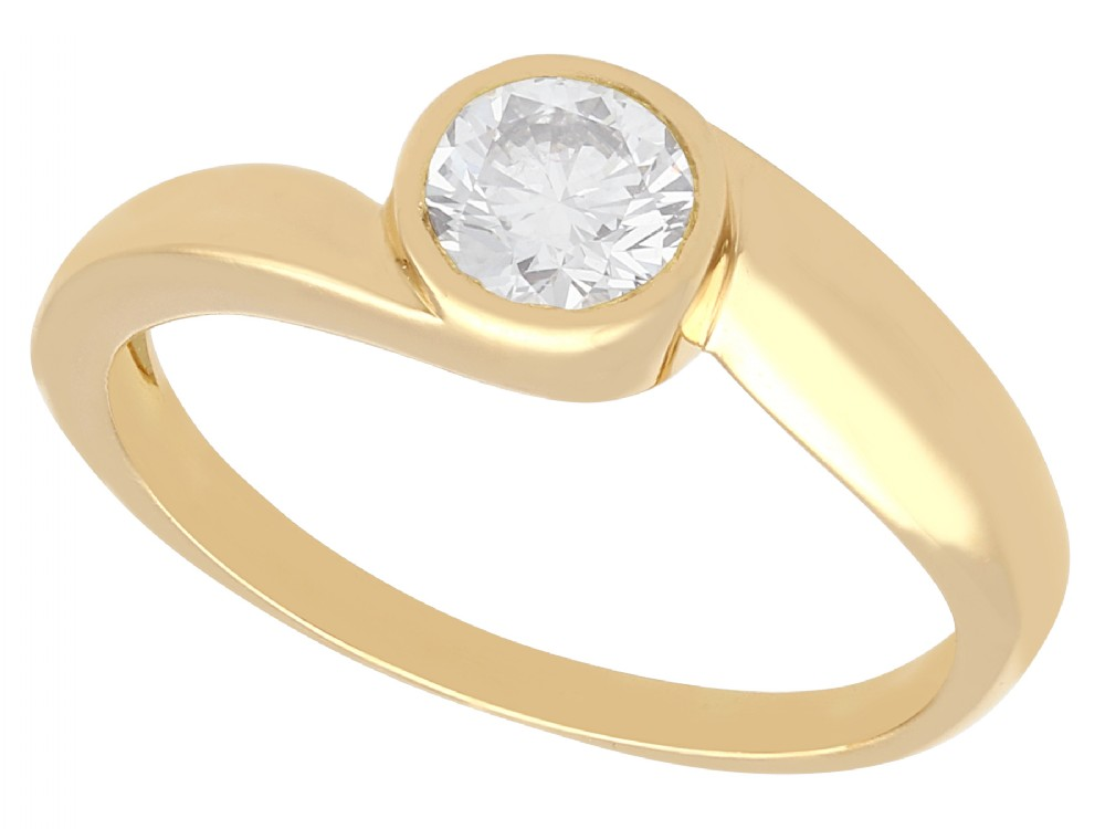 051 ct diamond and 18 ct yellow gold twist solitaire ring vintage french circa 1950