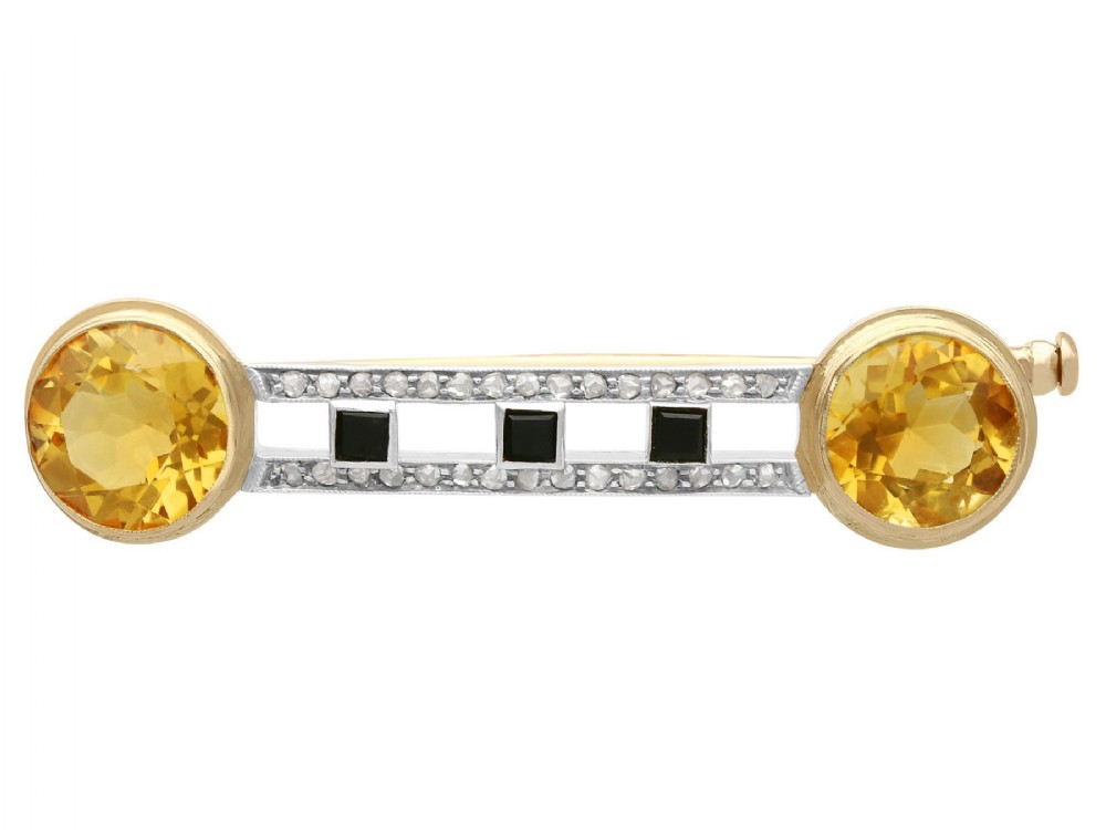 669 ct citrine 028ct diamond and onyx 14 ct yellow gold brooch antique circa 1920