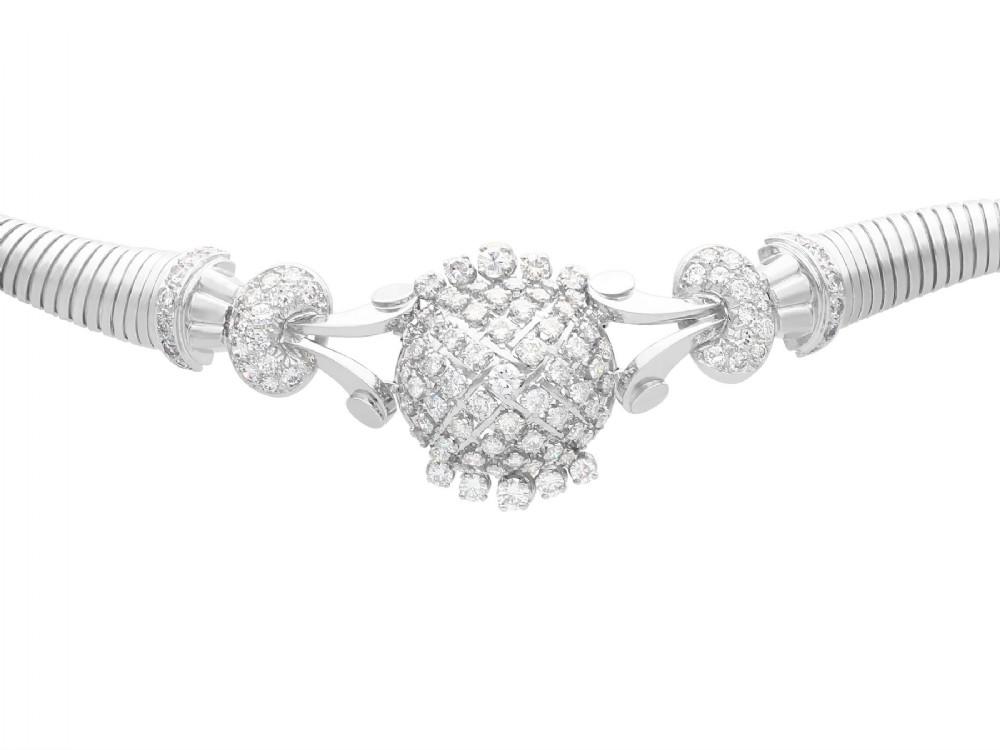 668ct diamond and 18ct white gold necklace bracelet art deco vintage french circa 1940