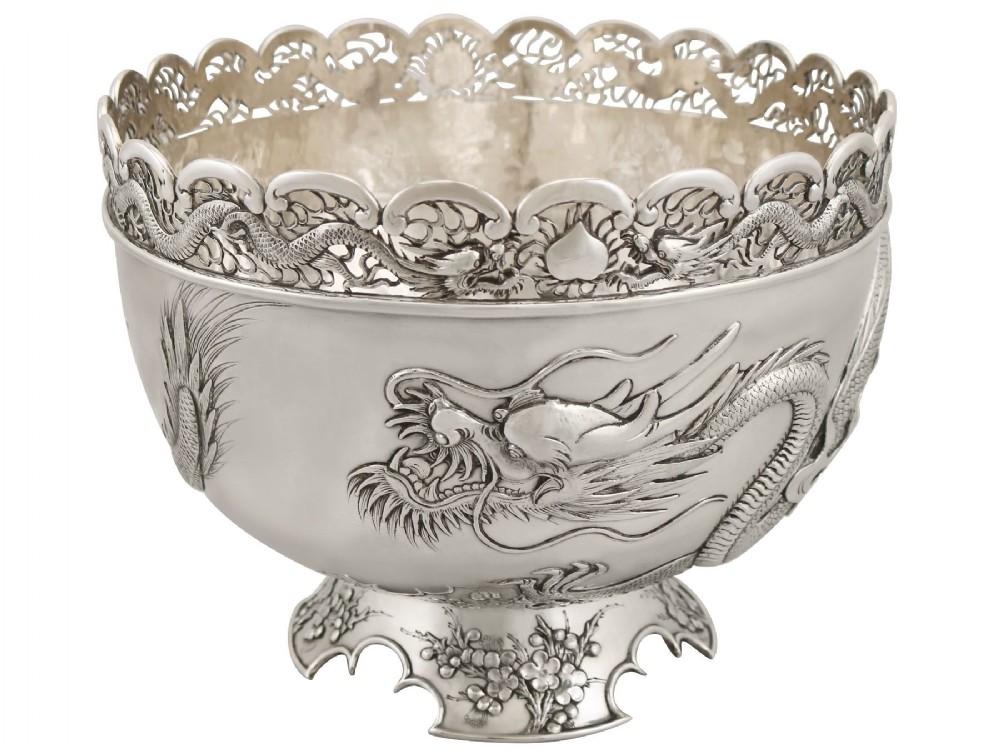 chinese export silver dragon bowl antique circa 1900