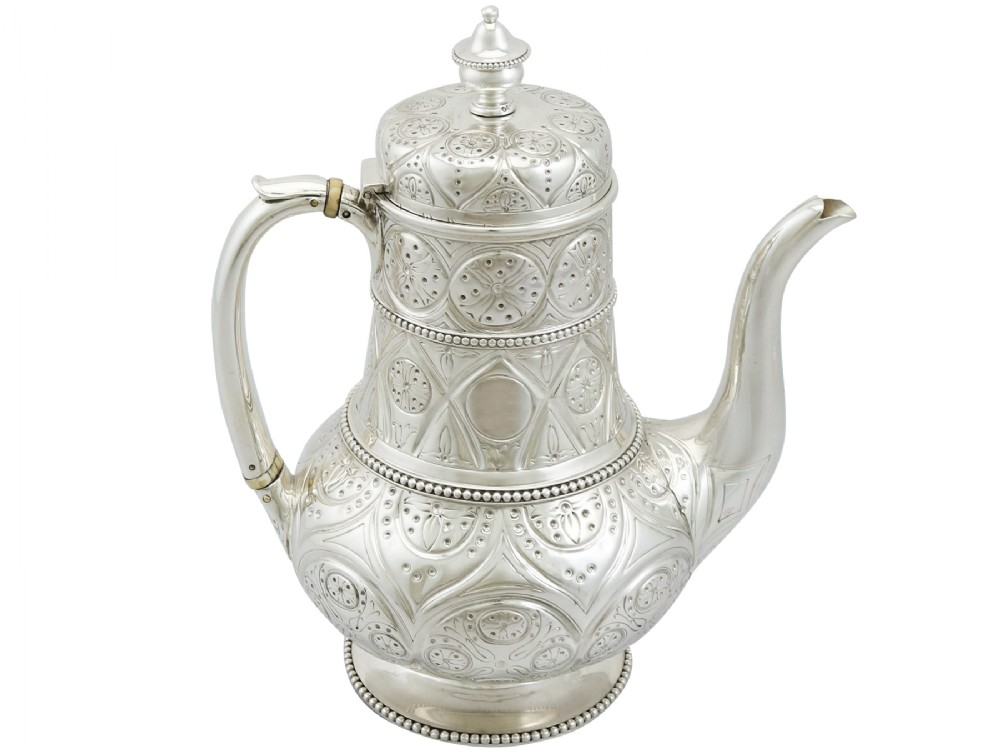 sterling silver coffee pot by john hunt robert roskell antique victorian
