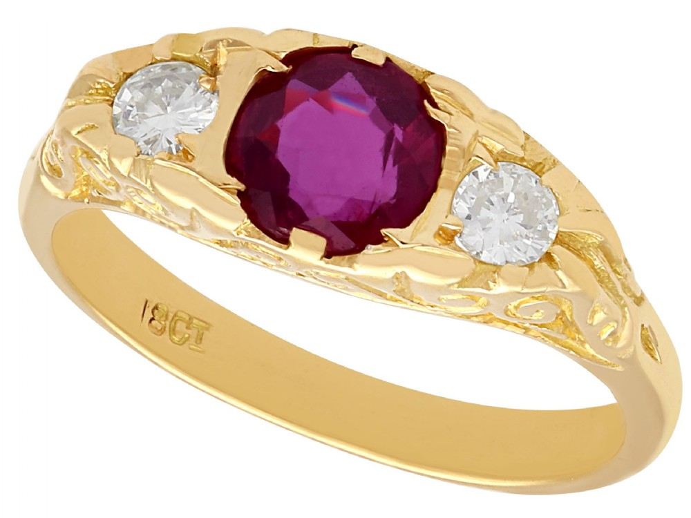 068 ct ruby and 024 ct diamond 18 ct yellow gold dress ring vintage circa 1940