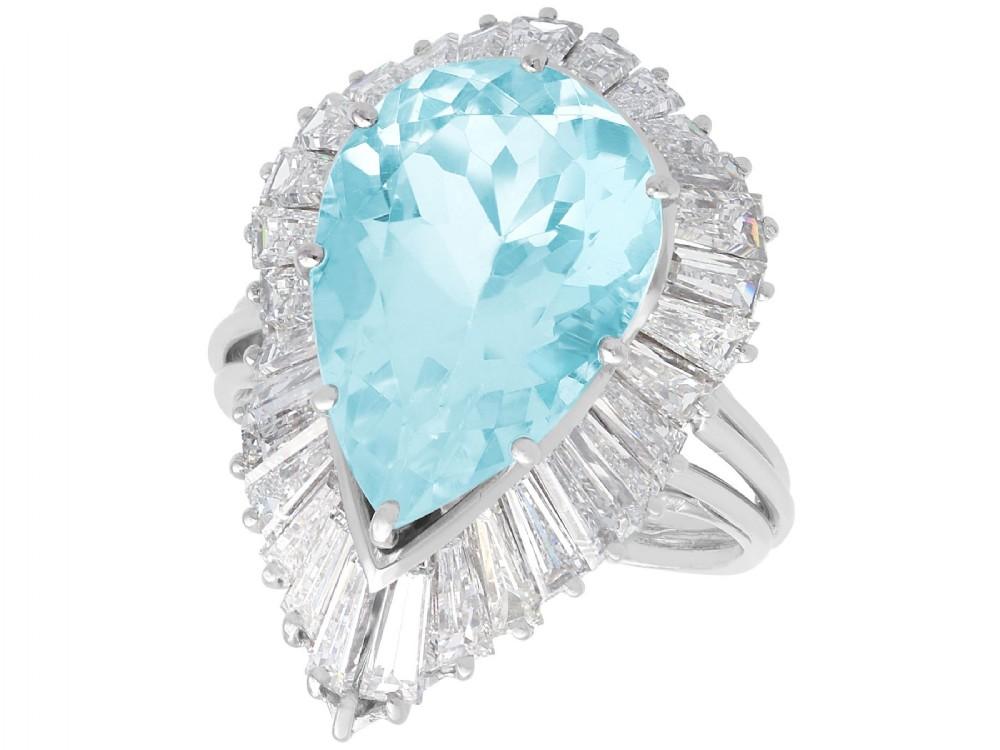 802ct aquamarine and 432ct diamond platinum dress ring vintage circa 1950