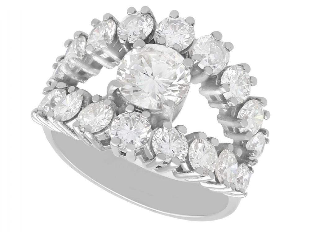 328ct diamond and 18ct white gold dress ring vintage circa 1950