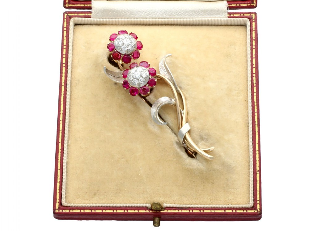 291ct ruby and 082ct diamond 10ct yellow gold and silver set brooch earring set antique circa 1935