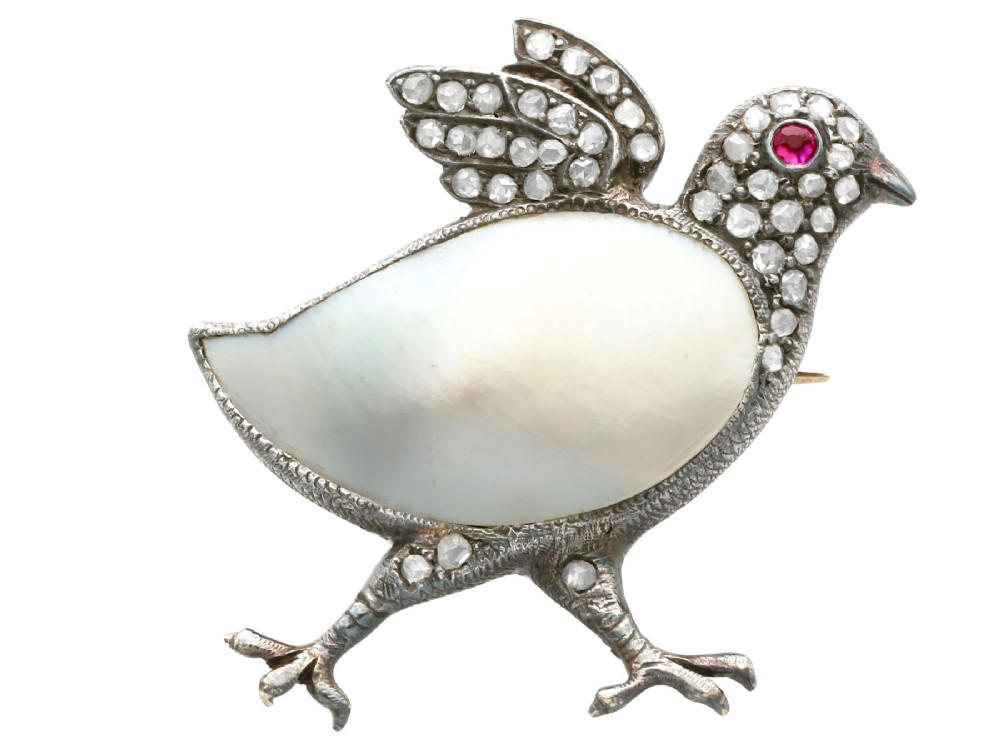 blister pearl ruby and 033ct diamond 9ct yellow gold chick brooch antique victorian circa 1890