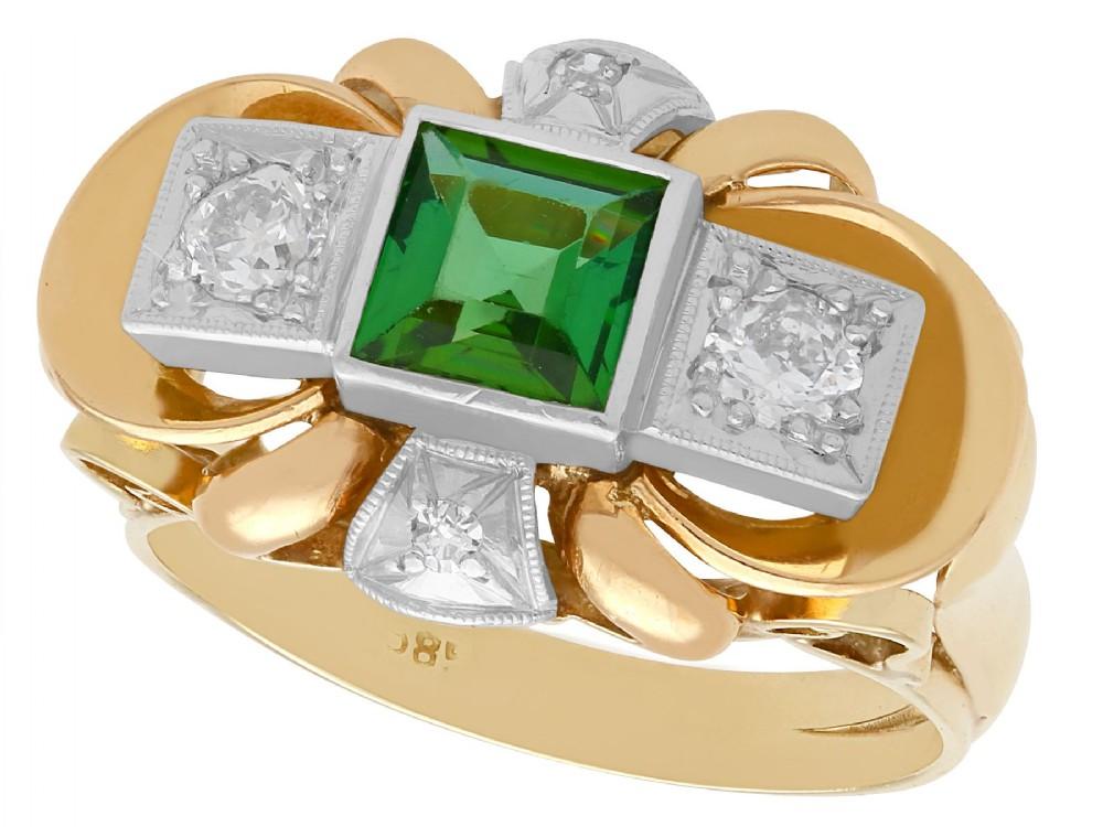 083ct tourmaline and 045ct diamond 18ct yellow gold dress ring vintage circa 1940