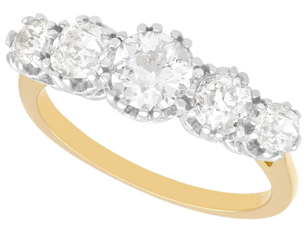 192 ct diamond and 18 ct yellow gold five stone ring vintage circa 1940