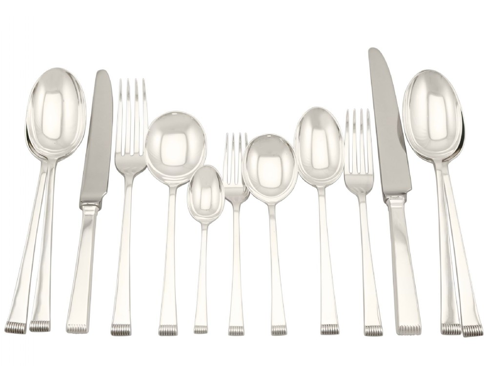 sterling silver canteen of cutlery for eight persons art deco style vintage 1956