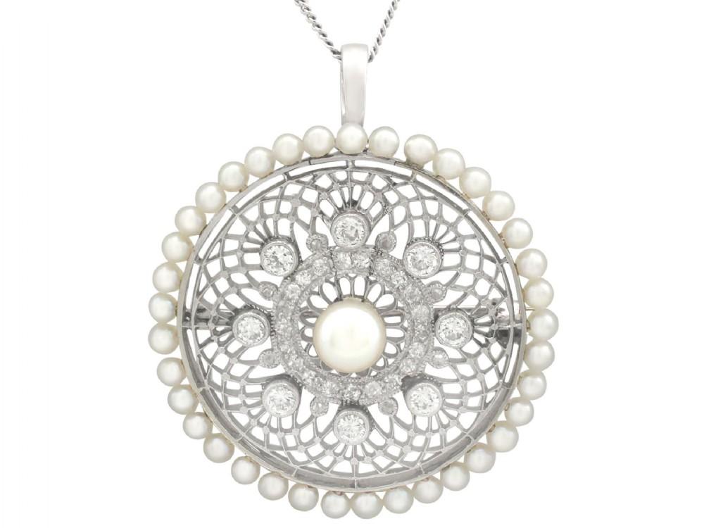 138 ct diamond and seed pearl platinum pendant brooch antique italian circa 1900