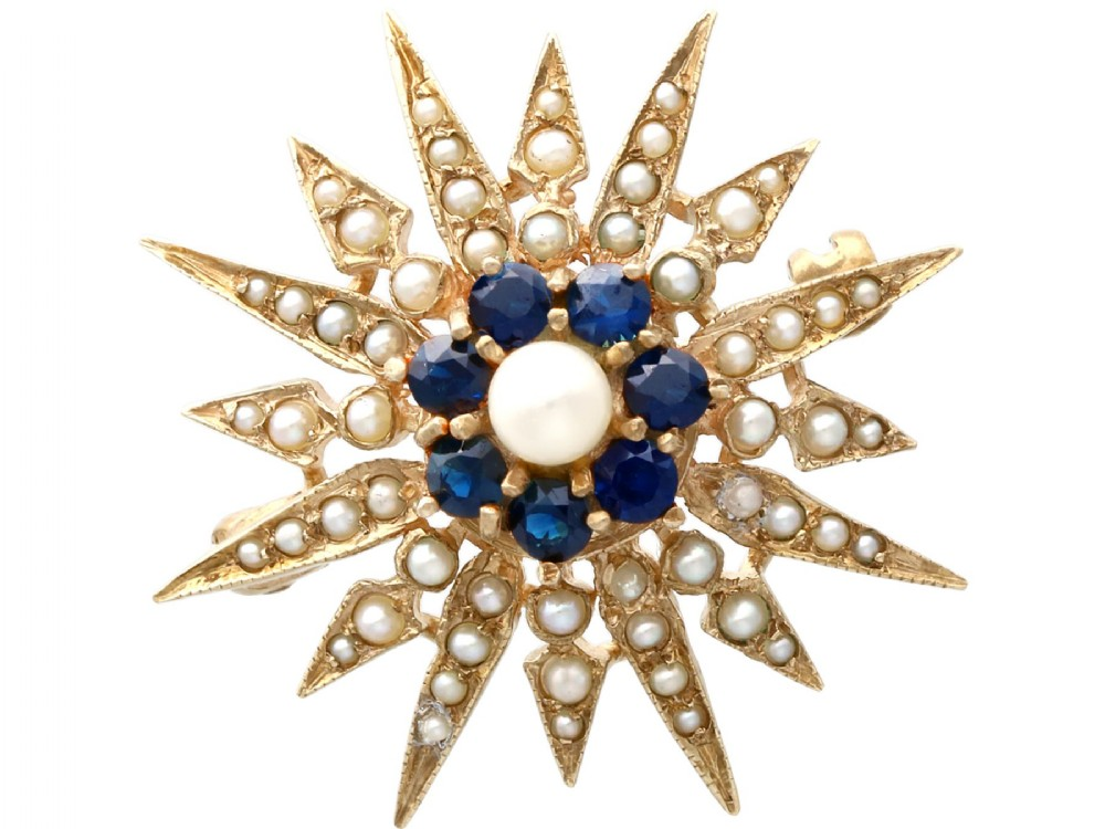 079ct sapphire and pearl 9ct yellow gold star brooch victorian style vintage 1965