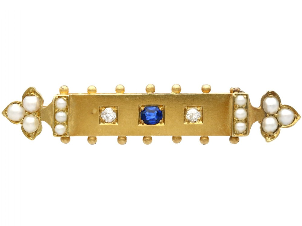 018ct sapphire diamond and pearl 18ct yellow gold bar brooch antique victorian circa 1890