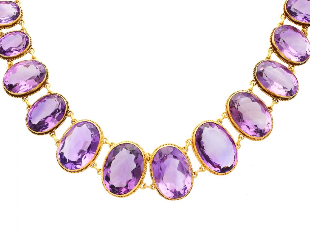 27491ct amethyst and 18ct yellow gold rivire necklace antique victorian