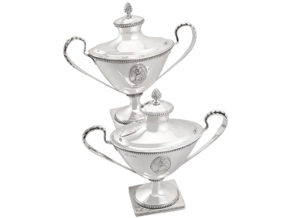 swedish silver sauce tureens antique 1791
