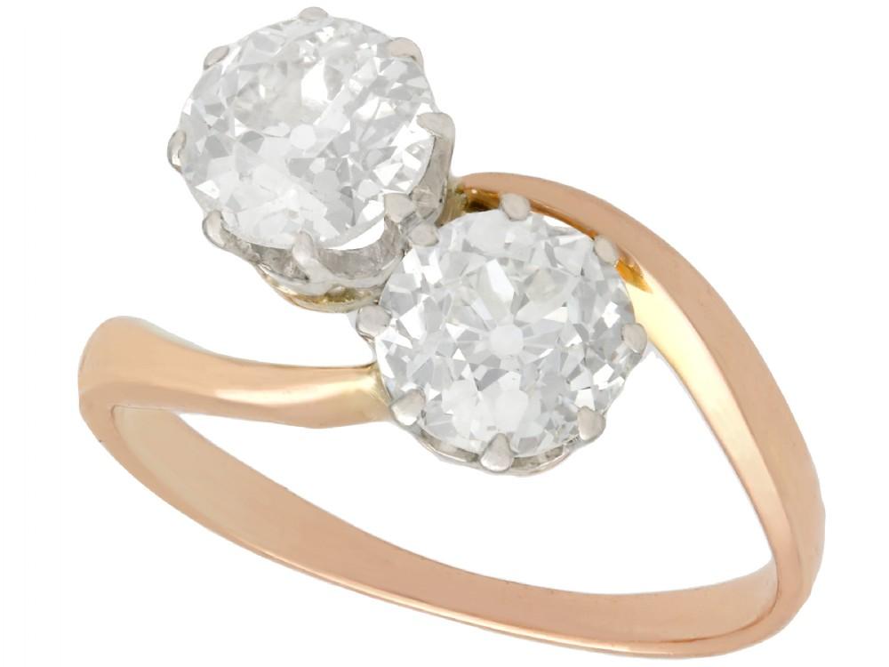 157ct diamond and 18ct rose gold twist ring antique circa 1910