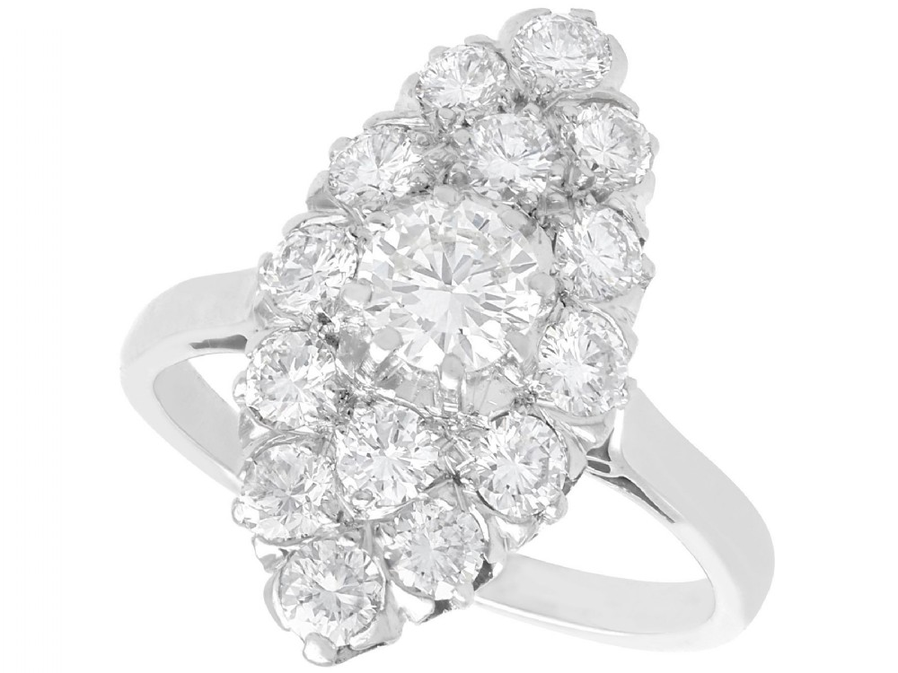 178ct diamond and platinum marquise cluster ring antique circa 1920