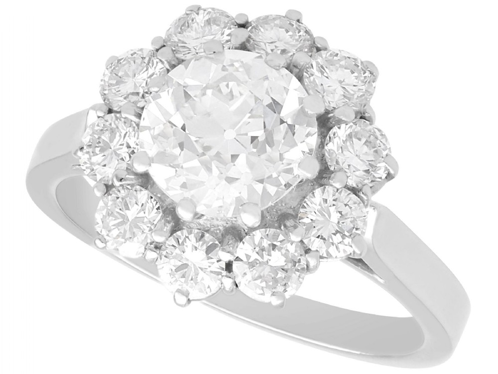 280 ct diamond and platinum cluster ring antique and vintage
