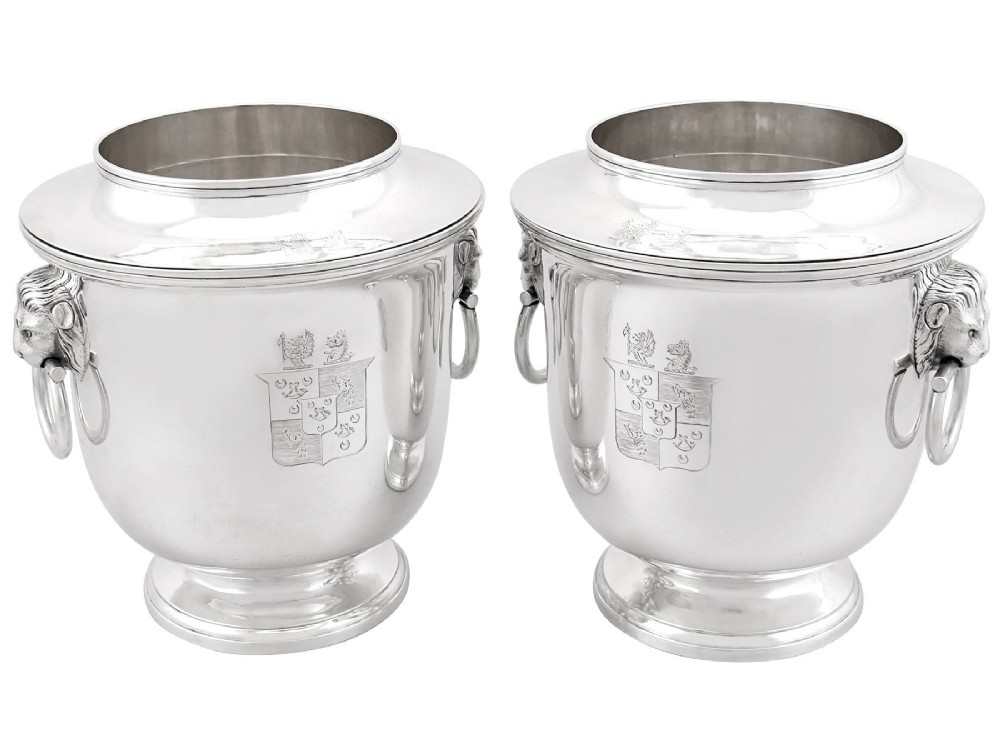 sterling silver wine coolers antique george iii