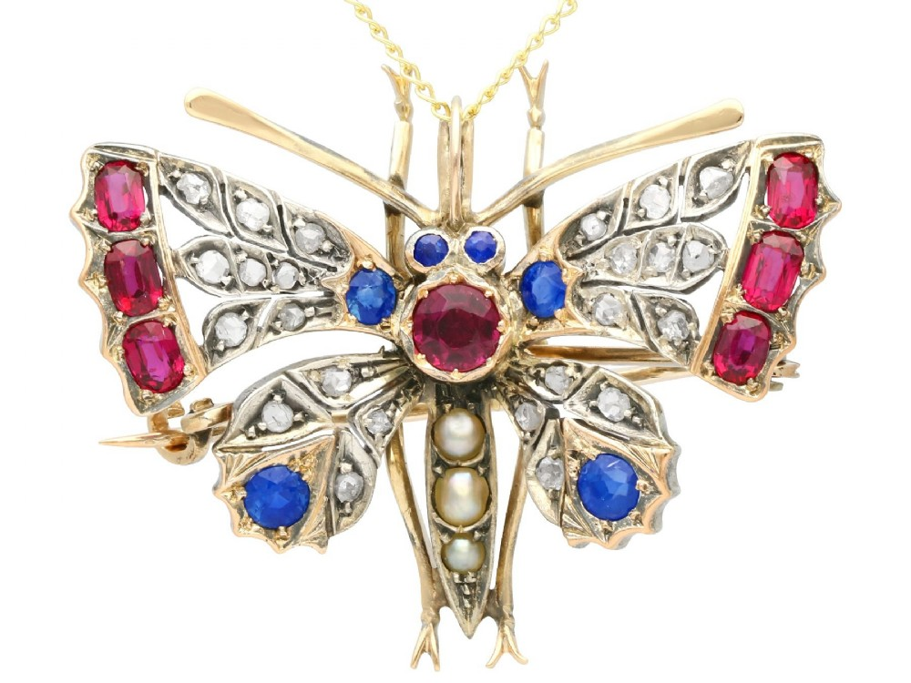 pearl sapphire ruby and diamond 9 ct yellow gold butterfly pendantbrooch antique circa 1880