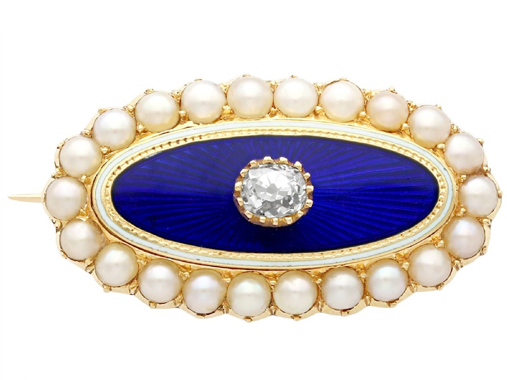 029ct diamond seed pearl and enamel 15ct yellow gold brooch antique victorian